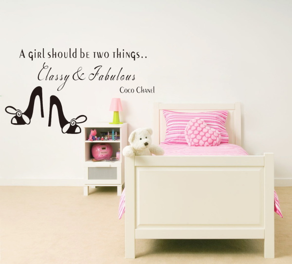 Famous English saying A girl should be two things classy and fabulous quote wall stickers vinyl wall stickers home decor