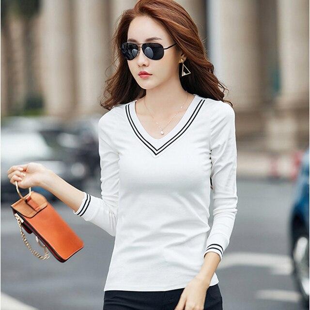 Poleras Manga Larga Mujer 2019 Women Korean Clothes Kawaii Tshirt T Shirt  White T-Shirt Long Sleeve Tops Cotton Womens Clothing dac855334a41