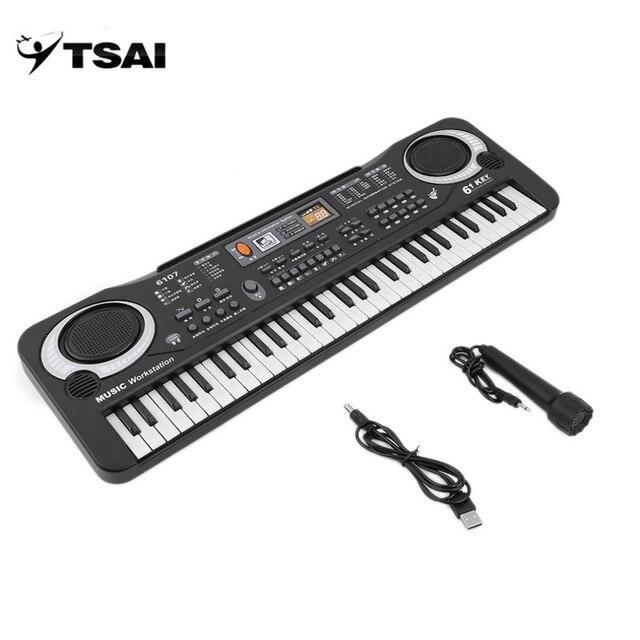e7c96ea9e TSAI Russia Multifunction and Delicate 61 Keys Digital Music Electronic  Keyboard Board Toy Gift Electric Piano Organ for Kids