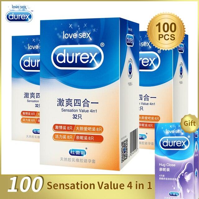Durex condones/100/64/32 piezas caja de látex Natural suave lubricado anticonceptivos 4 tipos condones para los hombres juguetes al por mayor de los productos