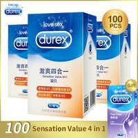 Durex preservativo 100/64/32 pçs caixa de látex natural suave lubrificado contracepção 4 tipos preservativos para homens brinquedos sexuais produtos atacado