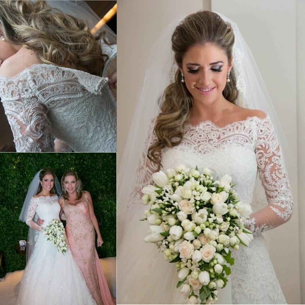 2017 vestidos de novia off off the shoulder lace long for Off shoulder sleeve wedding dress