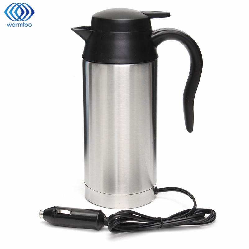 12V Electric Kettle 750ml Stainless Steel In-Car Travel Trip Coffee Tea Heated Mug Motor Hot Water For Car Or Truck Use 348ml car heating cup stainless steel dc12v car heated travel mug thermos heating cup kettle car coffee cup auto adapter