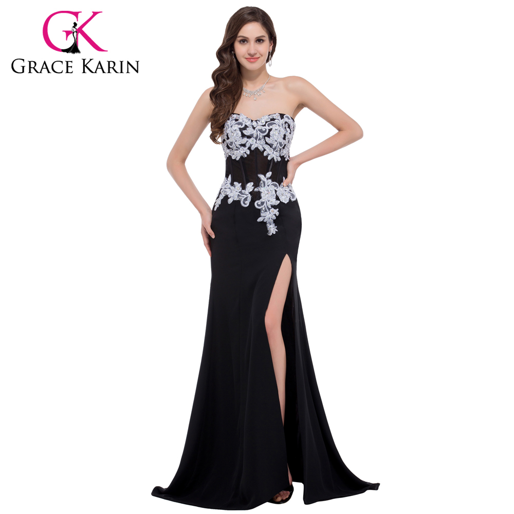 Lo lo lord and taylor party dresses - Grace Karin Black Evening Dress Lace Mermaid Party Prom Gowns Elegant Chiffon Split Left Masquerade Dinner