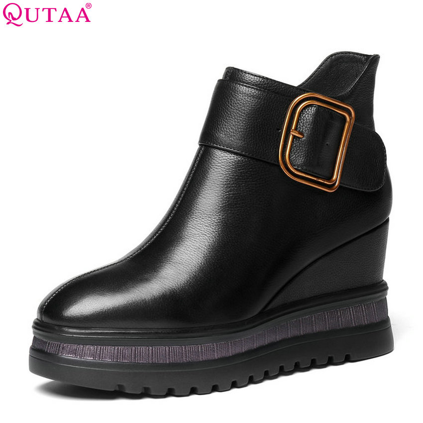 QUTAA 2019 Women Ankle Boots Platform Zipper All Match Cow Leather+pu Square Toe Wedges Heel Elegant Women Boots Big Size 34-42 qutaa 2019 winter boots women ankle boots all match platform zipper square high heel cow leather pu women boots big size 34 39