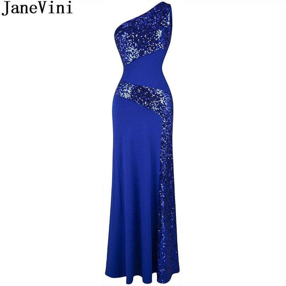 0c376f9dabe JaneVini одно плечо Русалка Длинные мать невесты платья для женщин плюс  размеры Элегантный блестками вечернее платье