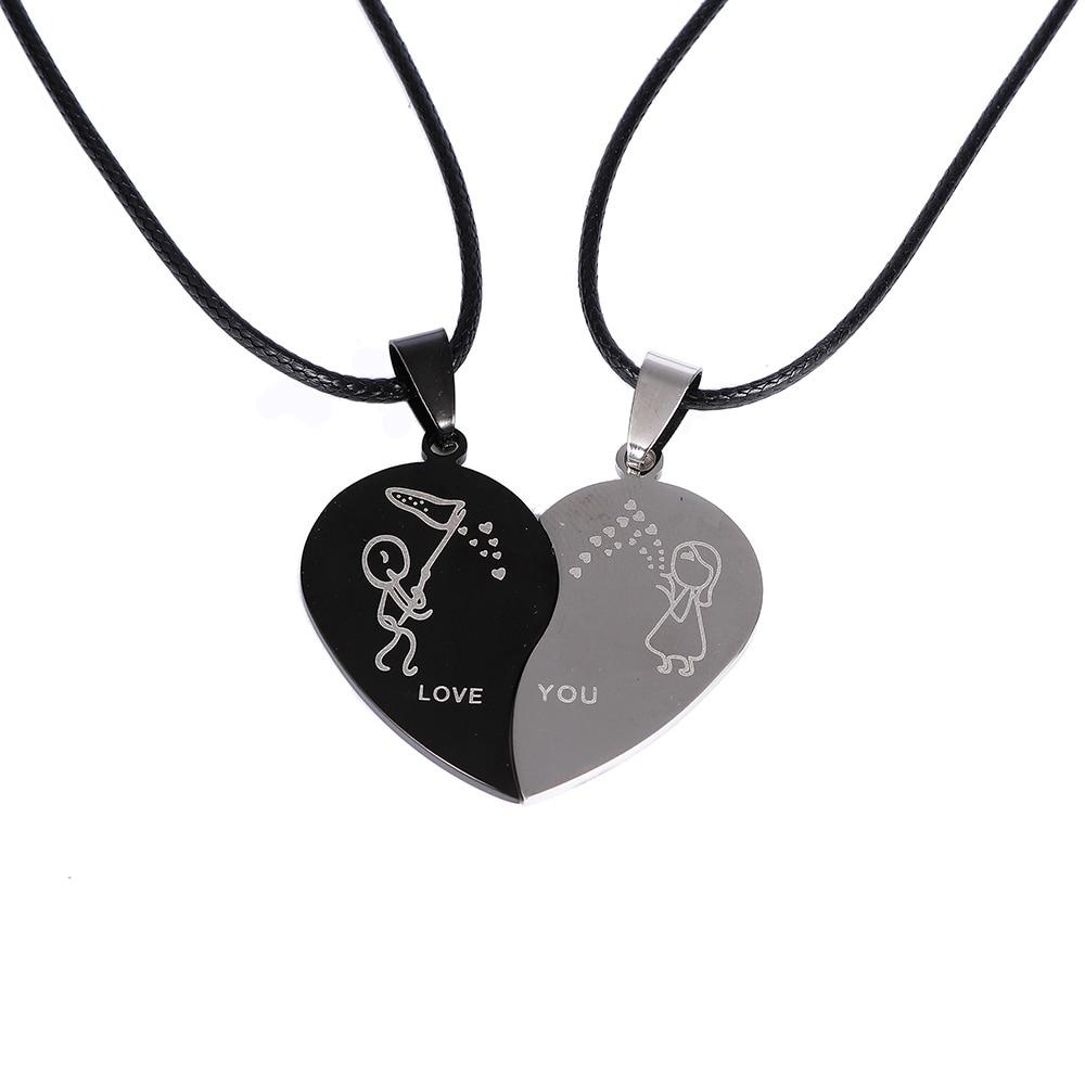 Pair Silver Couple Heart Love Girlfriend Boyfriend Pendant Necklace Chain Gift