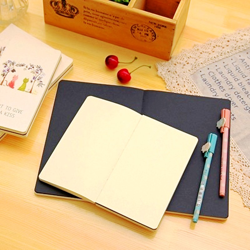 Exquisite cat notebook stationery ultra thick blank with black exquisite cat notebook stationery ultra thick blank with black sheets graffiti notepad cute diary agenda office school supplies in notebooks from office gumiabroncs Gallery