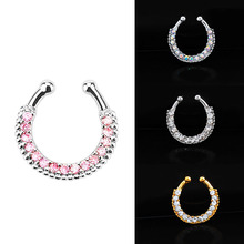 LNRRABC 2Colors Alloy Nose Rings & Studs Crystal Fake Septum Piercing Clip Women Fashion body jewelry wholesale