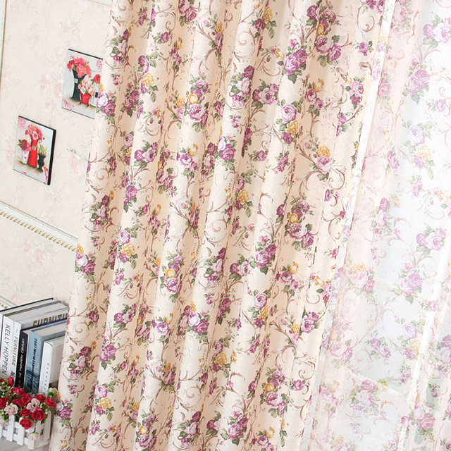 Elegant Purple Flower Curtain