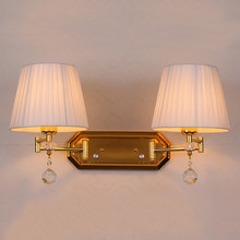 Adjustable Double Arm wall sconce dimmer switch wall light Vintage Wall Lamp bedroom Hallway wall lamps fabric cover sconces(China)