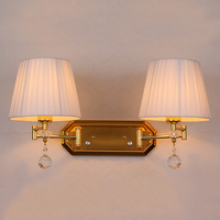 Adjustable Double Arm wall sconce dimmer switch wall light Vintage Wall Lamp bedroom Hallway wall lamps fabric cover sconces
