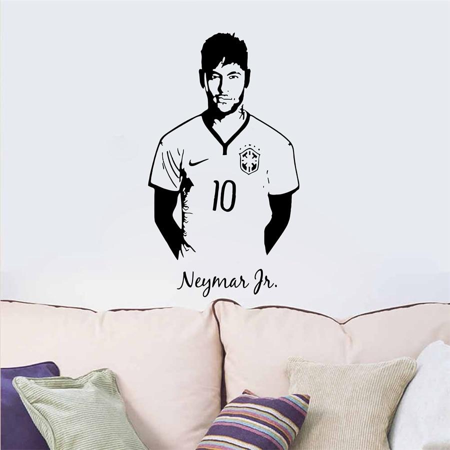 Neymar Junior de Football Wall Sticker Sport Joueur de Football Wall Sticker Pour Garçons Room Decor Barcelone Affiche Barca Papier Peint