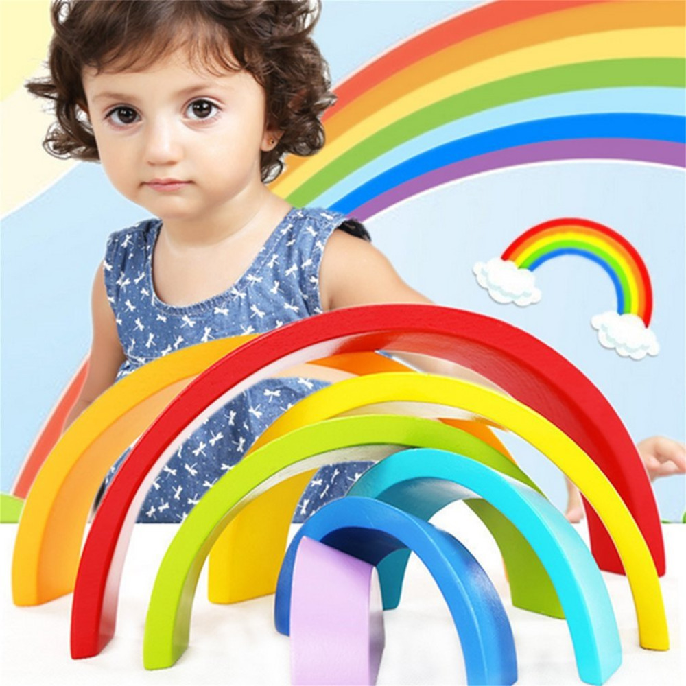 7 Colors/Set Environmental Wooden Children Kids Building Blocks Rainbow Toy Baby Early Education Learning Toys Set ball run track game toy wooden puzzles diy mini tree baby kids education puzzles fun kids toys m3011