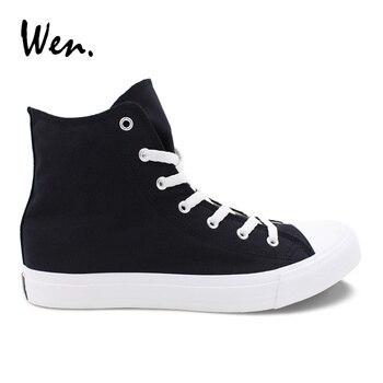 Вэнь мужская женская повседневная обувь сплошной цвет черный парусиновые кроссовки высокие плоские туфли на шнуровке обувь Вулканизирова...