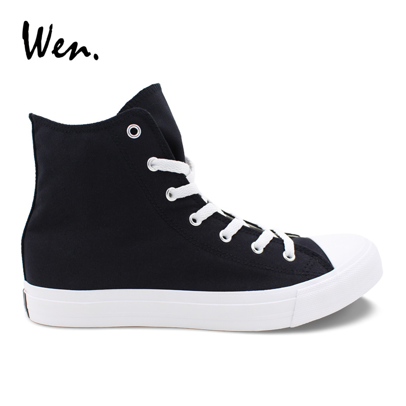 Wen Men Women Casual Shoes Solid Color Black Canvas Sneakers High Top Flat Shoe Lace Up Footwear Vulcanized Shoes Big Size 49