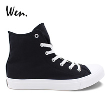 Wen Men Women Casual Shoes Solid Color Black Canvas Sneakers High Top Flat Shoe Lace Up Footwear Vulcanized Shoes Big Size 49