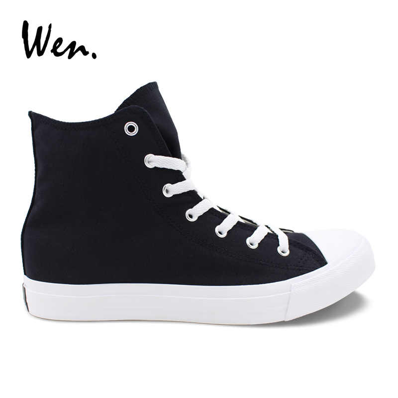 Wen Pria Wanita Sepatu Kasual Hitam Putih Sepatu Kanvas Unisex Sepatu Tinggi Atas Renda Sepatu Vulcanized Sepatu Datar Besar ukuran 49