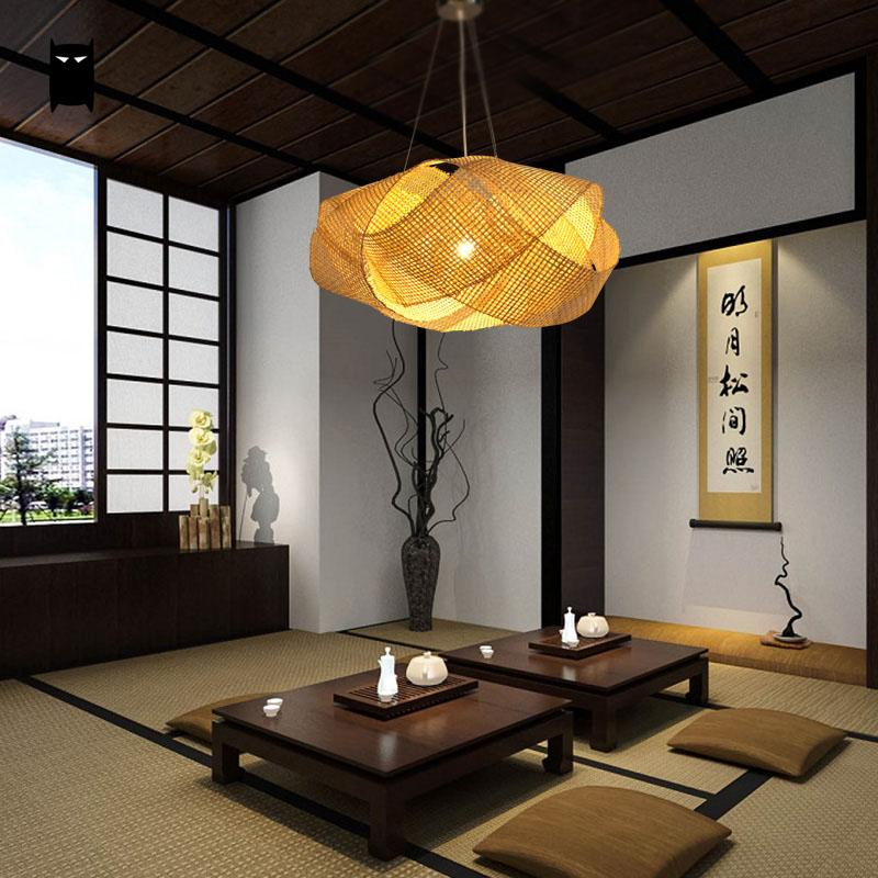 Bamboo Wicker Rattan Cloud Shade Pendant Light Fixture Japanese Tatami Hanging Ceiling Lamp Plafon Lustre Avize Luminaria Design