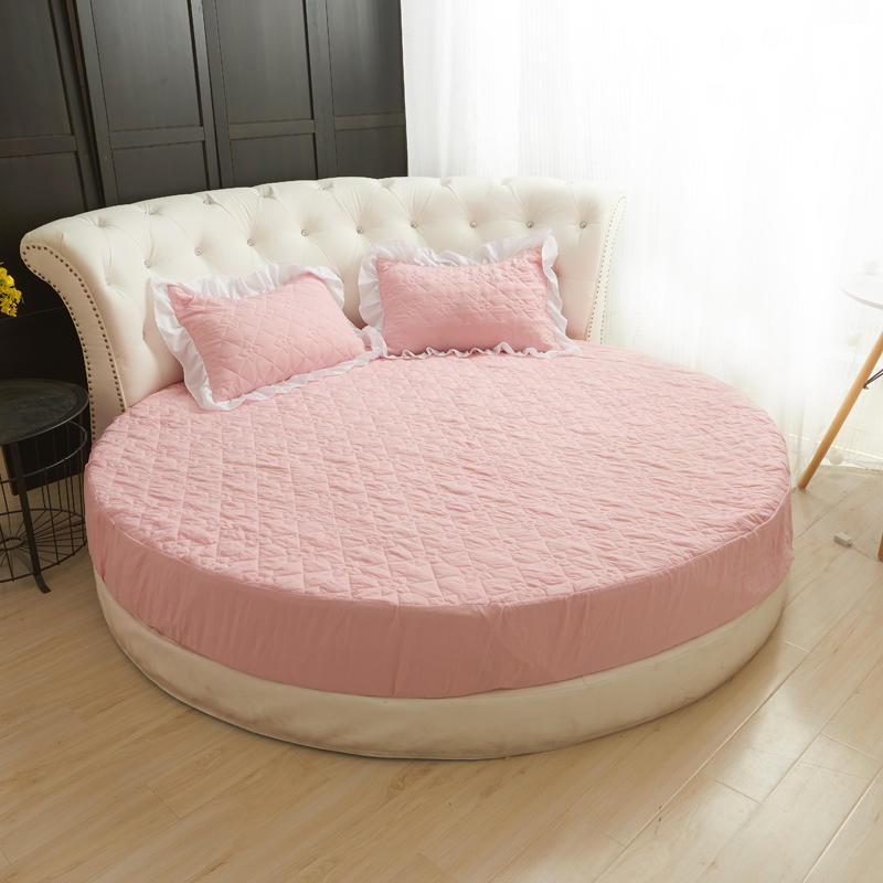 100 Cotton Round Bed Fitted Sheet Set Pink Green Bed