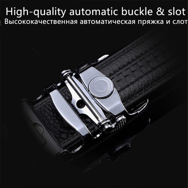 Men's Belts for Business man Strap 100%cow Real Leather automatic ratchet Good quality New Designer Buckles gifts for Male Jeans