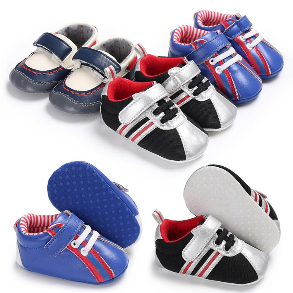 Fashion Toddler Baby Boys Soft Soles Anti-Slip Sport Prewalker Crib Shoes Gift