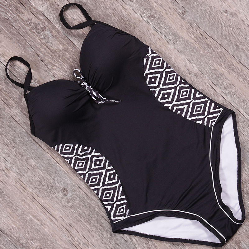 sexy vintage brand curve shape your body large plus size 4XL one piece women swimwear new swimsuit backless black bathing suit