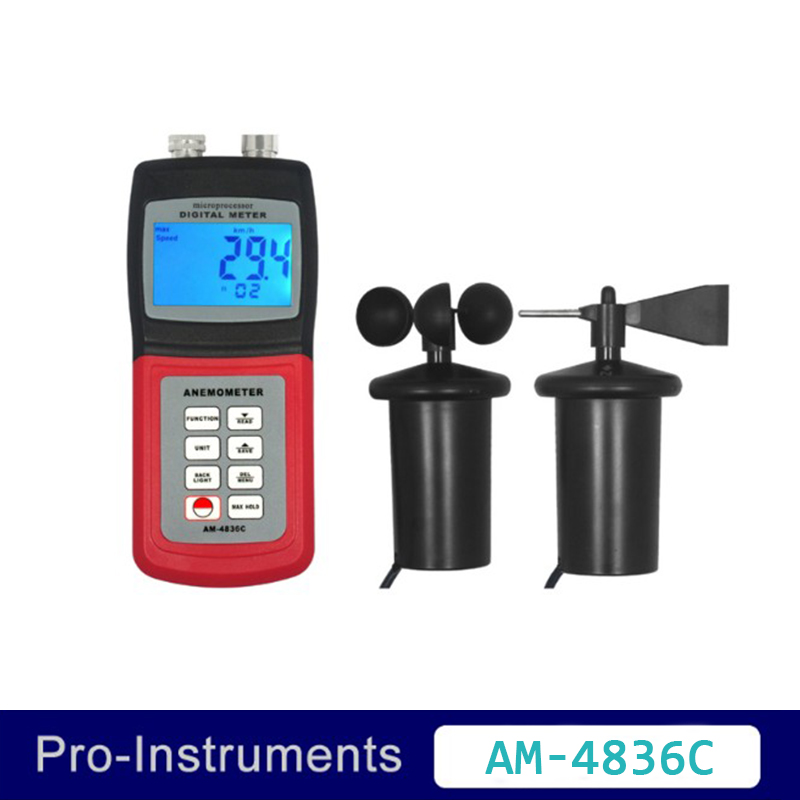 Landtek AM-4836C Multi Function Professional 3 Cup Anemometer Air Speed Temperature Beaufortscale Wind Direction Air Flow OD digital 3 cup type sensor probe multi function thermo anemometer 80% rh air weather meter wind direction air speed temperature