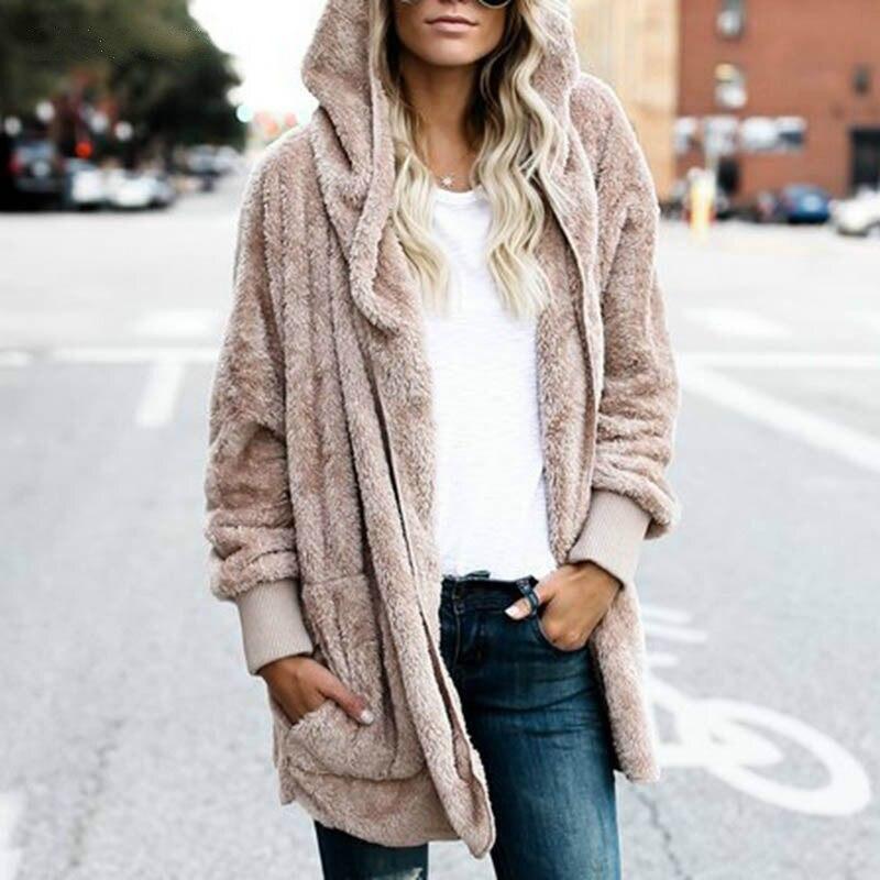 New Year Spring Autumn Faux Fur Teddy Bear Coat Jacket Women Fashion Open Stitch Hooded Coat Female Long Sleeve Fuzzy Jacket 3XL 1