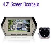 """4.3 """"Wide Screen Peephole Viewer Camera DVR Motion Detection IR Lens Digital Doorbell Door Viewer Door Silver"""