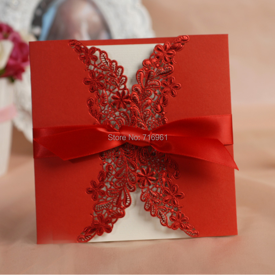 Free print laser cut lace red Wedding invitation cards with ribbon ...