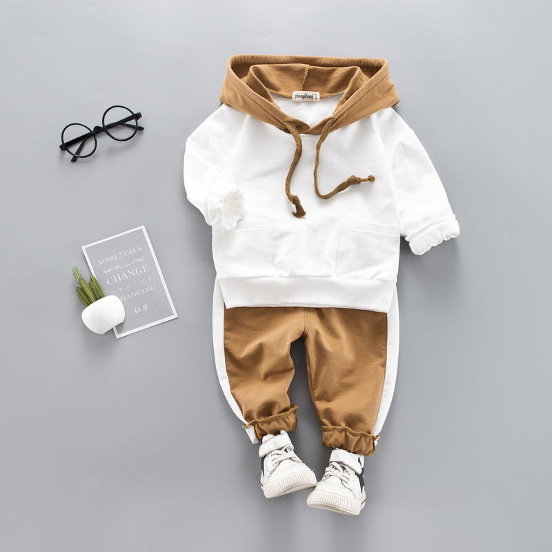 0-4 years High quality boy girl clothing set 19 new spring sport active solid kid suit children baby clothing Hoodies+pant 4