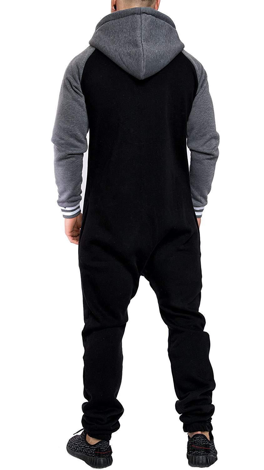 Casual Autumn Hooded Tracksuit Jumpsuit Long Pants Romper For Male Mens Fleece warm Overalls Sweatshirts Male Streetwear X9126 21