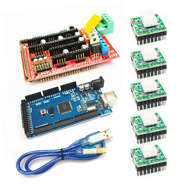 5pcs A4988 Stepper Driver Module 1pcs RAMPS 1.4 Controller 1pcs Mega 2560 R3 1pcs 12864 Controller for 3D Printer kit