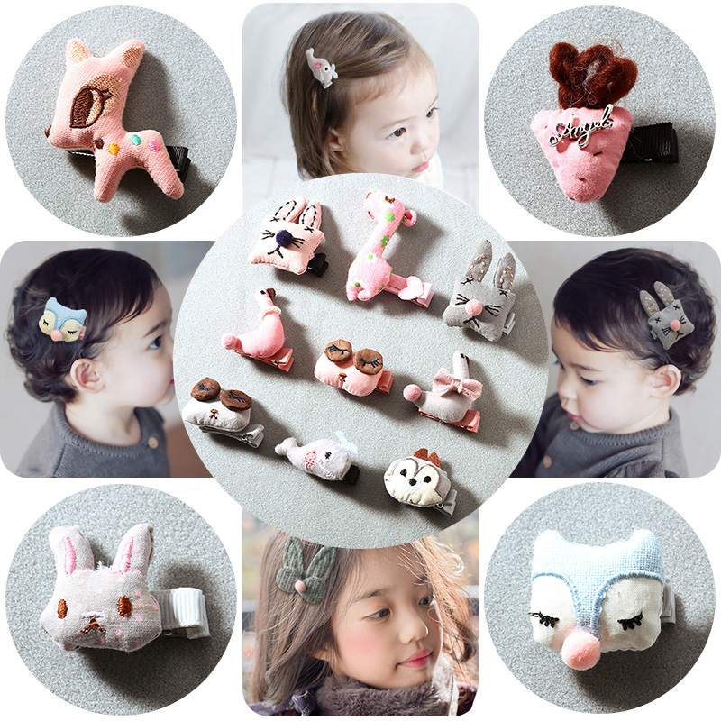 Cute Baby Girls Cotton Cartoon Animal Bow Safety Small Hairpins Children Headband Hair Ornament Kids Barrettes Hair Accessories cute swan hair ball hairpin princess feather hairpins girls kids hair clips accessories for children hairclip barrette headdress