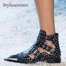 Stylesowner Metal Studded Rivets Short Boots Sandal Woman Pointy Toe Buckle Straps Martin Boots Cut Out Fashion Cool Shoes Woman цена