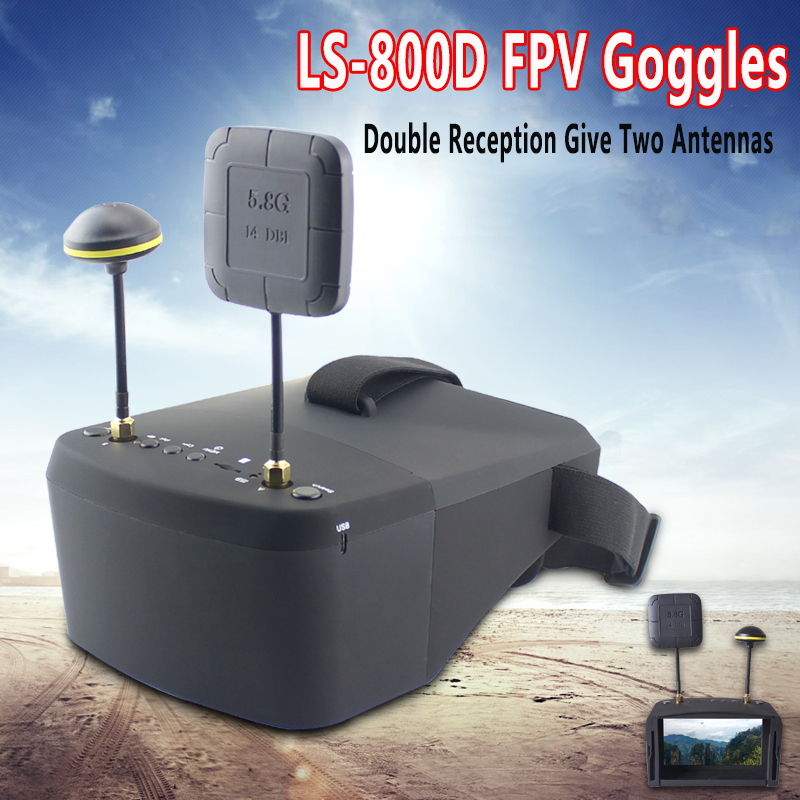 LS 800D FPV Goggles with DVR 5.8G 40CH 4.3 Inch 5 Inch 854*480  Video Headset HD 2000mAh Battery For RC ModelParts