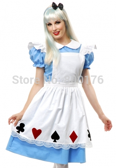 FREE SHIPPING Hot Sale Alice In Wonderland Dress  Maid Cosplay Fantasia Carnival Halloween Costumes For Women Plus Size S-2XL