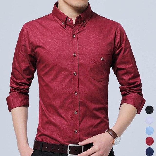 cbdc6929a5e 2017 Men Shirts Office Male Fashion Casual Solid Print Color Trend Cotton  Slim Fit Men s Business Social Shirt Pocket Blouse