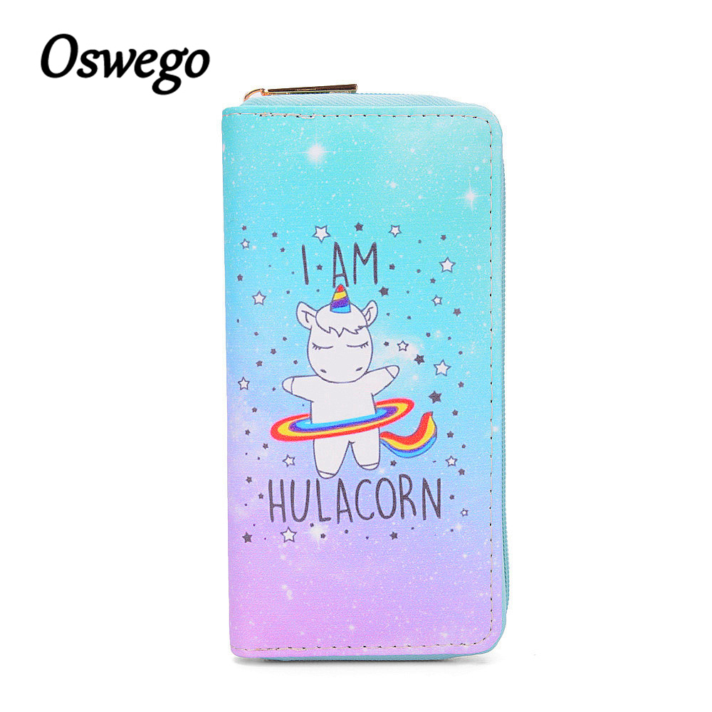 Oswego Clutch Wallet Blue Unicorn Long Wallet Women Cartoon PU Leather Zipper Womens Wallets and Purses Card Holder Phone Bag