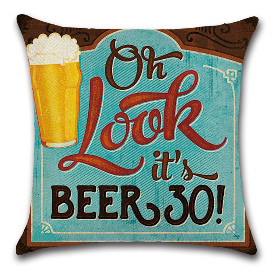 Image 5 - Cartoon Anime Letter Cushion Cover Set British Retro Beer Bottle Printing Linen Pillowcase Car Sofa Bar Farmhouse Home Decor-in Cushion Cover from Home & Garden