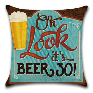 Image 5 - Cartoon Anime Letter Cushion Cover Set British Retro Beer Bottle Printing Linen Pillowcase Car Sofa Bar Farmhouse Home Decor