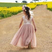 Летние Детские платья для девочек, кружевное платье без рукавов с открытой спиной и v-образным вырезом на спине, вечерние принцесса вечернее платье, пышные платья подружки невесты