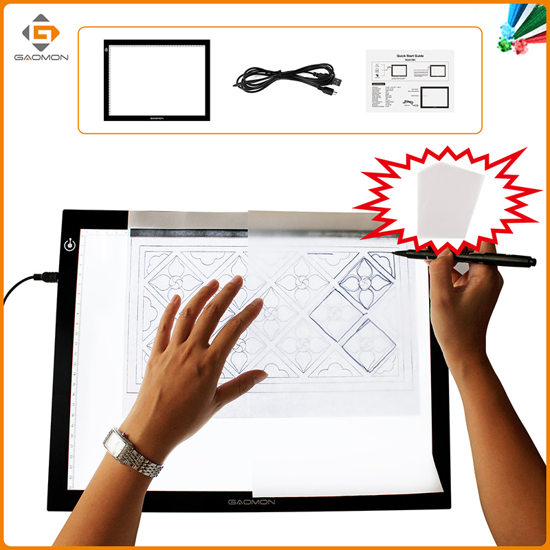ФОТО GAOMON GB4 LED Light Pad B4 Size Light Box Tracing Board for Drawing with 10 Sheets of A4 Size Tracing Paper