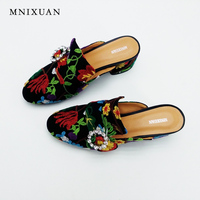 Sandals Women High Quality Handmade Chinese Embroidered Slippers Summer 2017 New Thick Heels Lady Mules Shoes