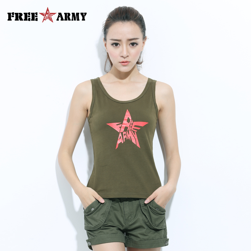 FREEARMY Brand Summer   Tank     Tops   Girl's Star Print Cotton T-shirts for Women Sleeveless Vest Singlets Female Undershirt Wholesale