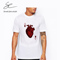 Playing Cards Card Men S Personality Red Printed T Shirt Short Sleeve Cotton Tees Casual Loose