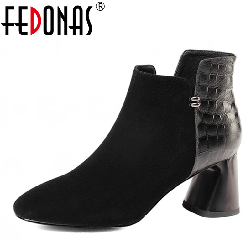 FEDONAS 2018 High Quality Women Autumn Winter Warm Snow Boots Genuine Leather Zipper Ladies Shoes Woman Motorcycle Boots snow boots free delivery of autumn and winter high quality 100