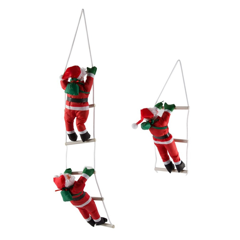 Large 60/80cm <font><b>Christmas</b></font> noel natal Santa Claus doll with stair to giving gift Sint Nicolaas <font><b>Christmas</b></font> Tree Decoration Home Decor image
