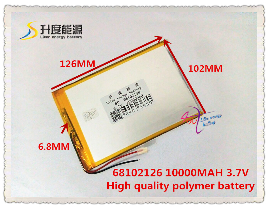 3.7V 10000mAH SD 68102126 polymer lithium ion / Li-ion battery for tablet pc,power bank,cell phone,speaker